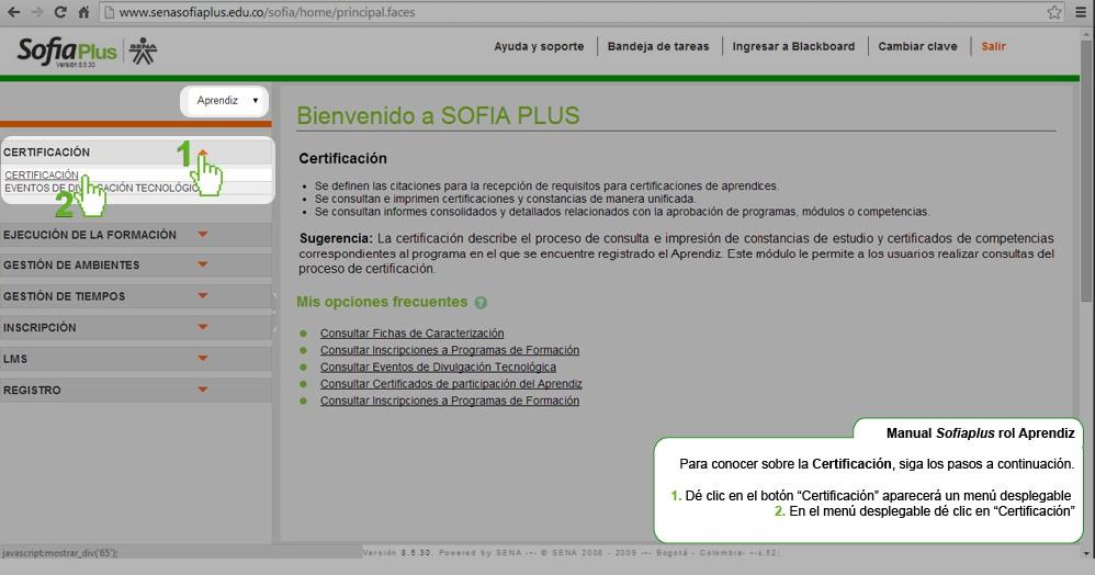Certificados en Sofia Plus