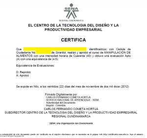 sena sofia plus certificados